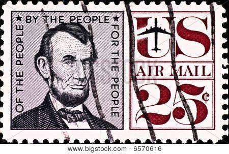 Postage Stamp With Usa President Abraham Lincoln, Circa 1970's