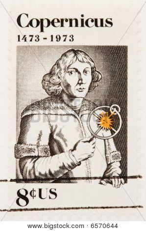 Usa - Circa 1973: A Stamp Printed By Usa Shows The Nicolaus Copernicus With An Astrolabe  Rifle Circ