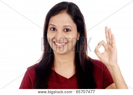 Happy Woman Gesturing Ok Sign