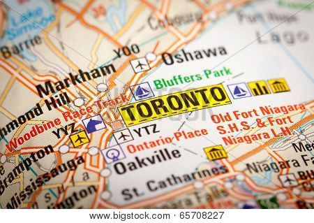 Toronto City On A Road Map