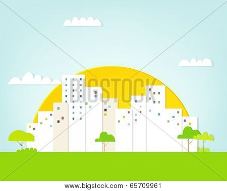 cartoon urban landscape on sunset background