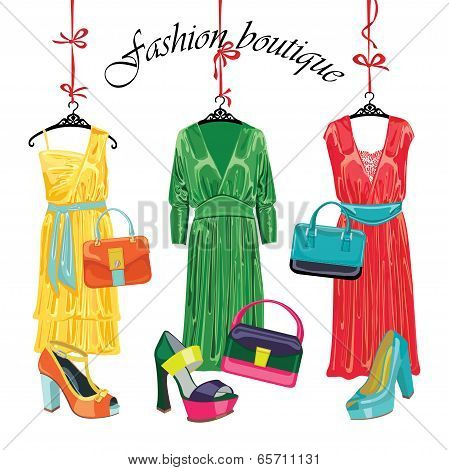 Three Fashionable Set Of Dress,handbag,shoes