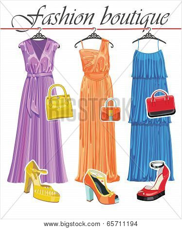 Three Long Summer Silk Dresses,handbags,shoes.fashion Boutique
