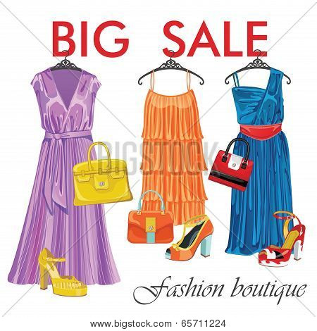Three Summer Silk Dresses,handbags,shoes.big Sale