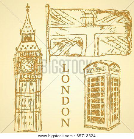 Sketch Big Ben, Uk Flag And Phone Cabin, Vector  Background