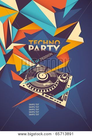 Techno party poster with turntable. Vector illustration.