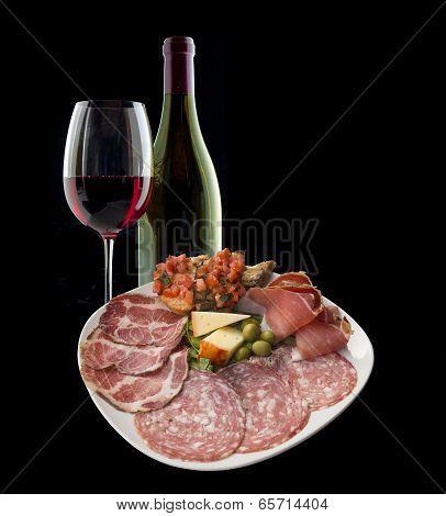 Italian antipasto with wine