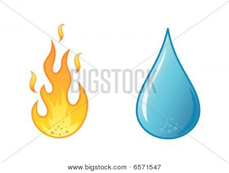 stylish hot flame  and water drop on white background