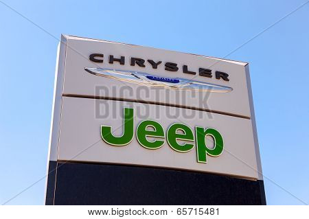 Samara, Russia - May 24, 2014: Chrysler, Jeep Automobile Dealership Sign. All Are Part Of The Chrysl