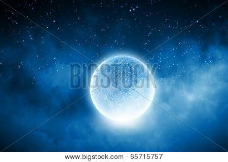 Close up of human hand holding blue glowing moon