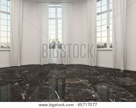 Empty curved room or bay window alcove with marble floor and patio doors flanked by two windows with white floor length drapes