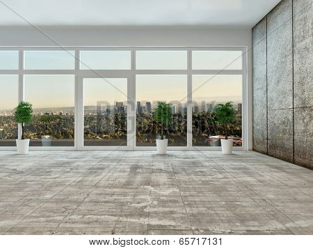 Empty living room interior with panoramic view through a floor to ceiling glass wall or window overlooking a distant town with grey decor and unfurnished except for houseplants