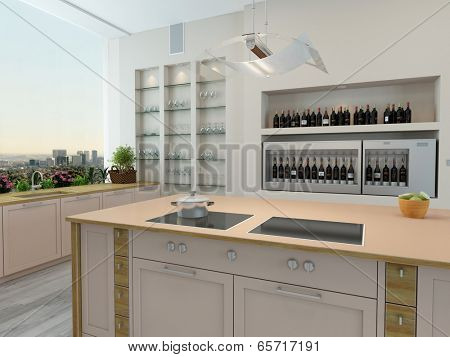 Modern new kitchen interior with built in wall shelves and a central island with an oven and hob and a bright airy wall length panoramic view window