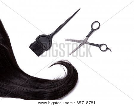 Long black shiny hair with professional scissors and hair dye brush, isolated on white background