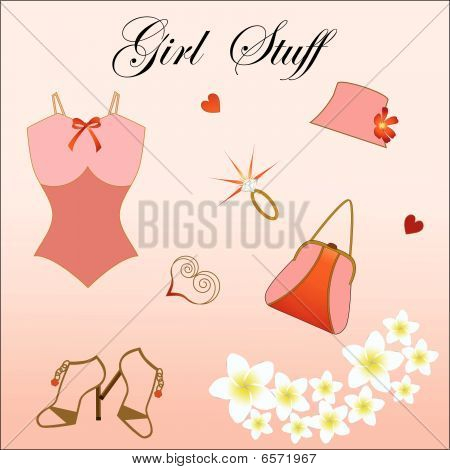 Girl Stuff Hat Shoes Ring Underwear Flowers