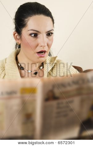 Shocked Woman Read Bad News