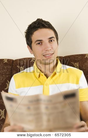 Smiling Man Read Newspaper