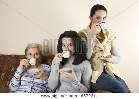 Three Women Friends Drinking Coffee