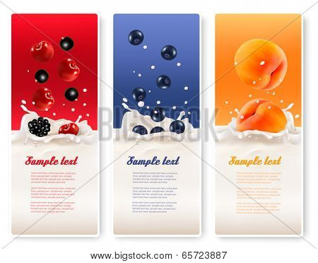 Three fruit and milk labels. Vector.