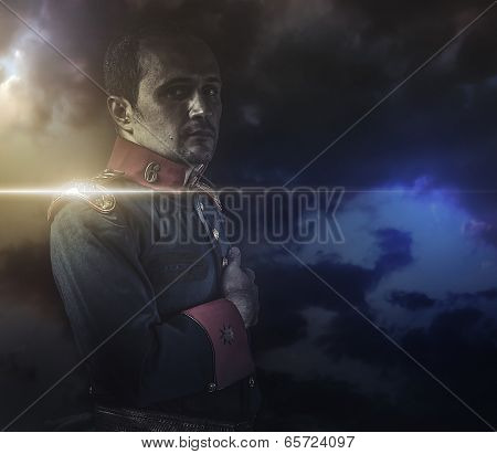 general, military dressed with coat war on cloud Background
