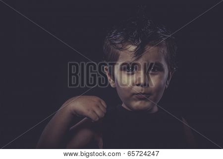 boy with slicked-back hair, funny and expressive
