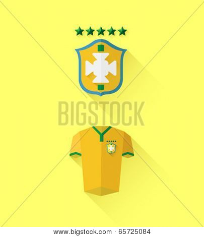 Digitally generated brasil jersey and crest vector