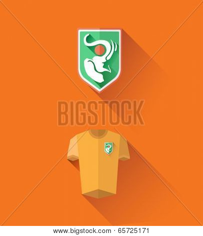 Digitally generated ivory coast jersey and crest vector
