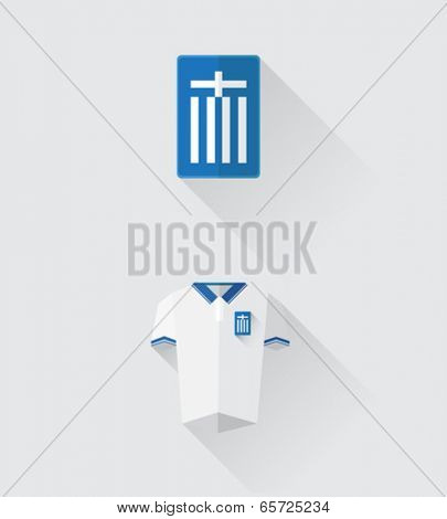 Digitally generated greece jersey and crest vector