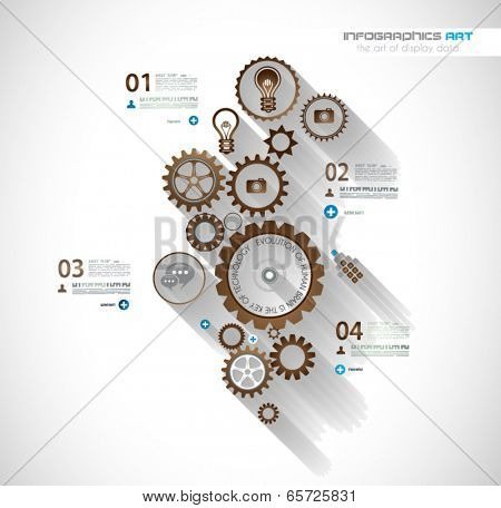 Infographic timeline with Gear mechanic concept for product or generic items classification.