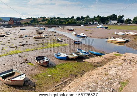 Boats at low tide Cockwood near Starcross Devon next to River Exe
