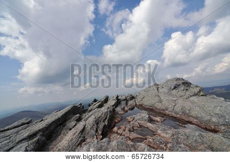 White clouds sweeping over a high mountain peak at Grandfather Mountain