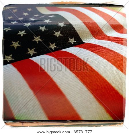 Instagram filtered style image of an American Flag for Memorial Day, 4th of July, Veterans Day