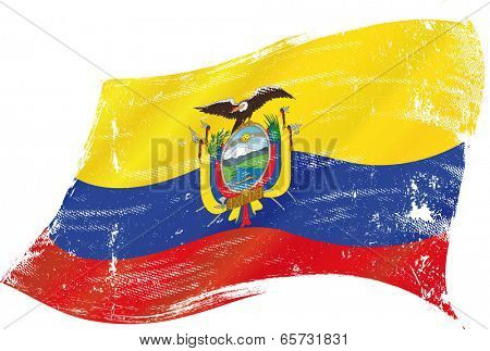 Ecuador grunge flag. flag of  Ecuador in the wind with a texture