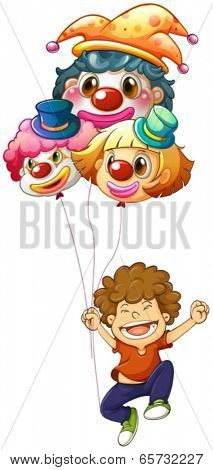 Illustration of a happy boy with three clown balloons on a white background