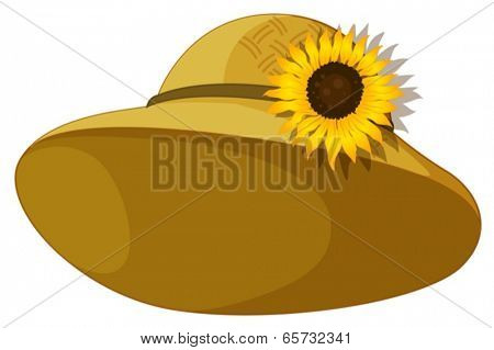 Illustration of a fashionable hat with a sunflower on a white background