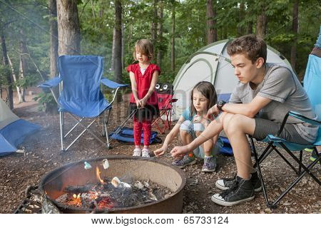 kids roasting marshmallows while camping in forest
