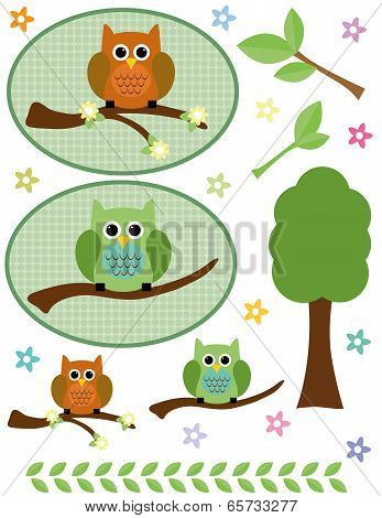 Owls, tree, branches and flowers