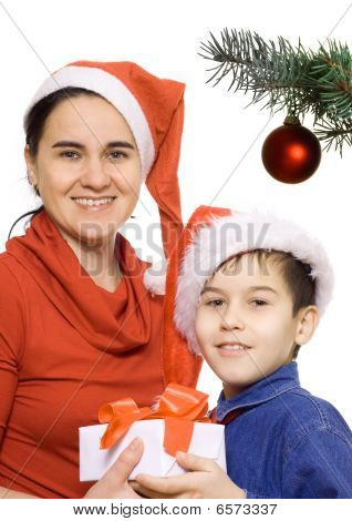 Mother And Son With Santa's Hat