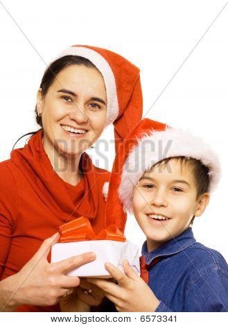 Boy And Mother With Santa's Hat