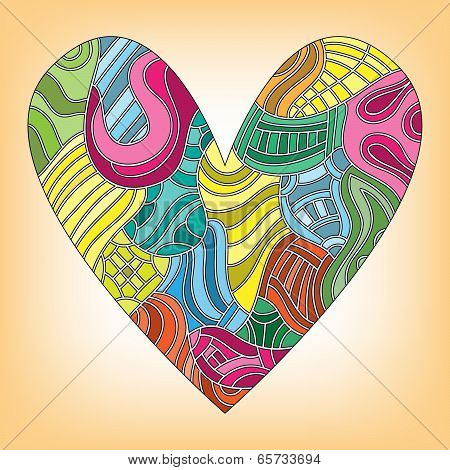 Colorful heart with different pattern