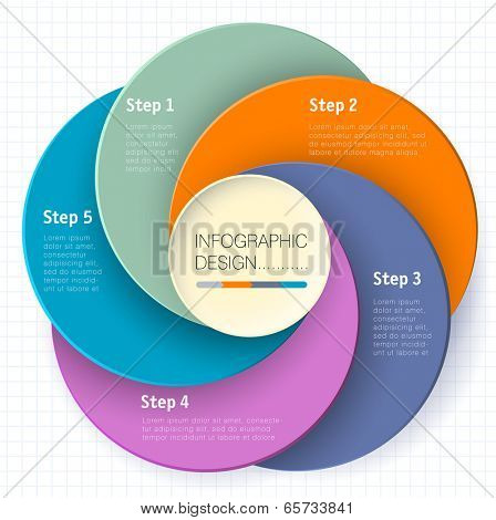 Modern business circle paper options banner. Vector infographics template.
