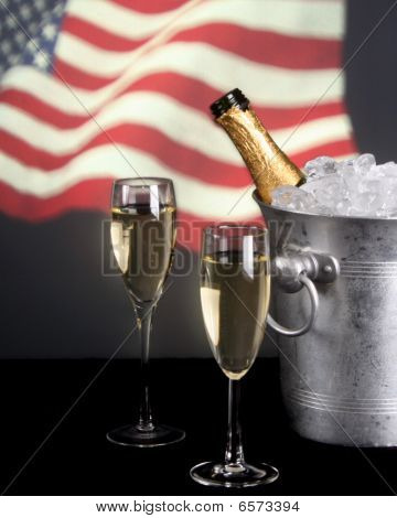 Champagne And American Flag In Background