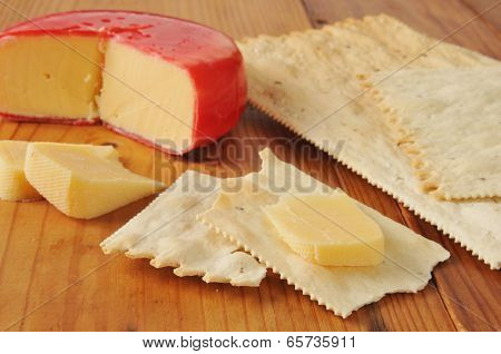 Gouda Cheese On Flatbread Crackers