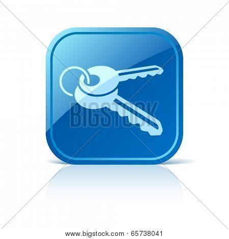 Keys icon on blue web button