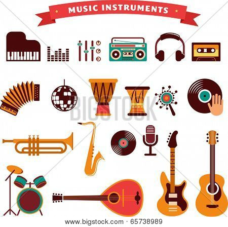 musical instruments, vector illustrations flat icons and elements set