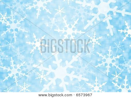Winter - Festive blue background with snowflakes