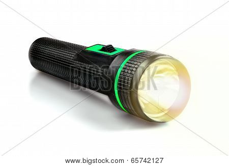 Light Beam From Electric Flashlight