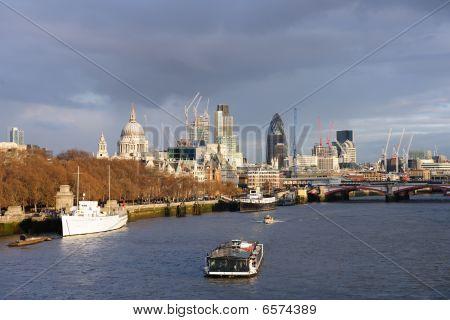 River Thames Skyline In Winter, London, England, Uk