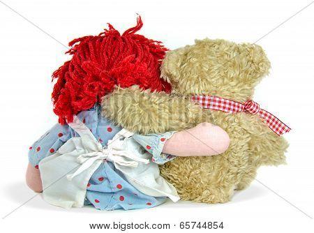rag doll with teddy bear