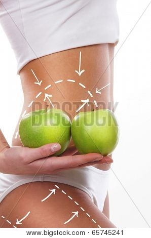 Female body with the drawing arrows on it isolated on white. Woman holding apples. Fat lose, liposuction and cellulite removal concept.